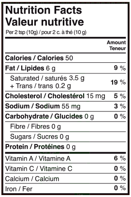 Nutritional Info - Lactantia® Light Butter