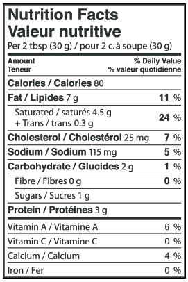 Nutritional Info - Lactantia® Light Cream Cheese