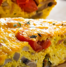 Cherry Tomato, Mushroom, Bacon and Thyme Fritatta
