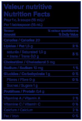 Information nutritionnelle - Crème à café 10 % Lactantia®