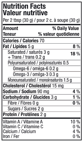 Nutritional Info - Lactantia® Light Cream Cheese Tub