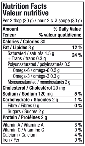 Nutritional Info - Lactantia® Original Cream Cheese Tub