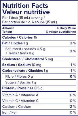 Nutritional Info - Lactantia® 5% Light Cream