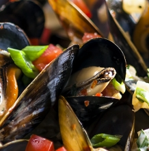 Mussels with Tarragon Cream Sauce
