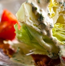 Ranch Salad Dressing on Iceberg Lettuce with Bacon