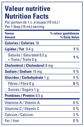 Nutritional Info - Lactantia® Fat Free Creamer