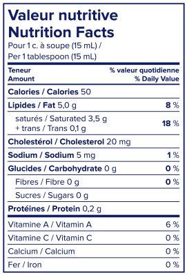 Nutritional Info - Lactantia® 35% Old Fashioned Cream