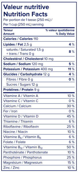 Information nutritionnelle - Lait sans lactose 1 % Lactantia®