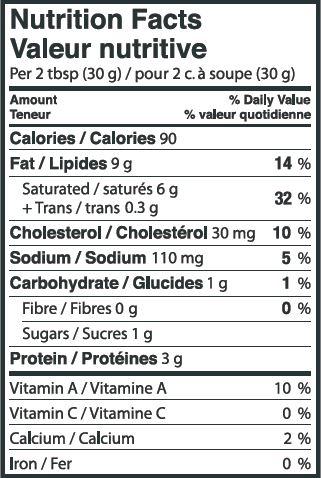 Nutritional Info - Lactantia® Original Cream Cheese