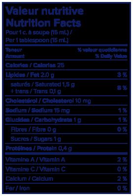 Nutritional Info - Lactantia® 15% Table Cream