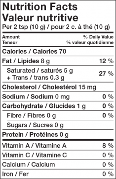Nutritional Info - Lactantia® Maple Flavoured Butter