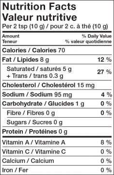 Nutritional Info - Lactantia® Tomato Basil Butter
