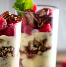 Custard Parfait with Raspberries and Honey Glazed Pecans