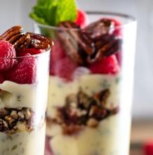 Custard Parfait with Raspberries and Honey Glazed Pecans