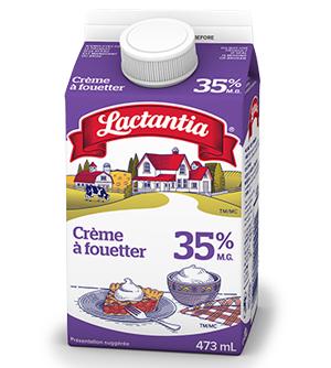 Fait avec la crème à fouetter Lactantia